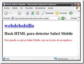 Hack safari mobile en Internet Explorer