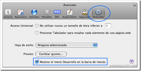Editor de preferencias de Safari