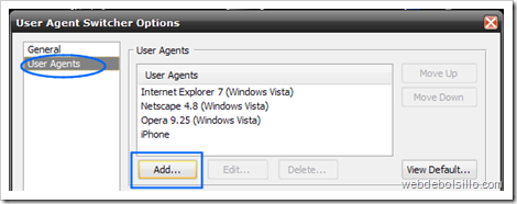 Agregar User Agent a User Agent Switcher