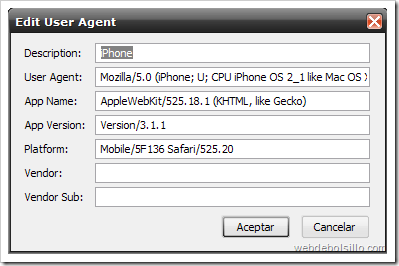 Disfraza Firefox de móvil con User Agent Switcher Useragentswitcheroptionsadduseragent