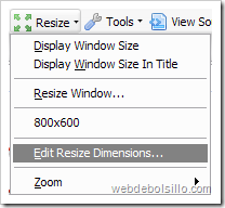 Resize - Edit Resize Dimensions